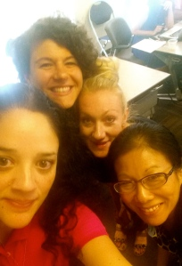Connected Courses selfie: myself, Kira Baker-Doyle, Helen Keegan, Mimi Ito